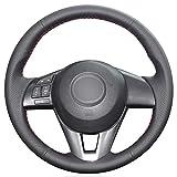 NsbsXs Für Mazda 3 Axela6 Atenza 2 CX 3 CX 5 Scion iA, Für Toyota Yaris iA Schwarz PU Autolenkradabdeckung
