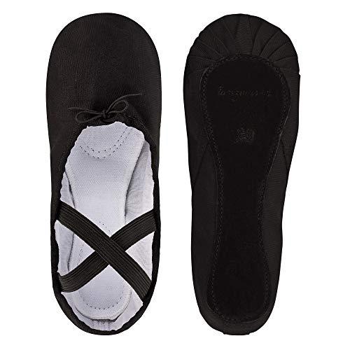 tanzmuster ® Ballettschuhe Mädchen Ballettschläppchen - Dani - ganze Ledersohle in schwarz, Größe:42