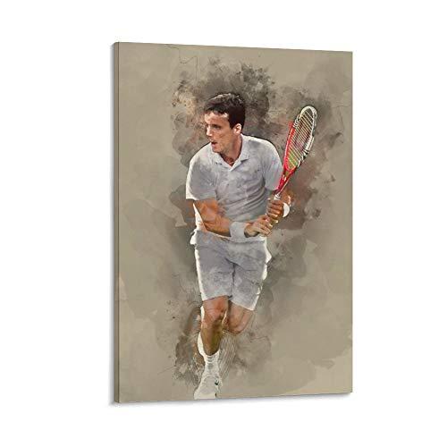 WODEWO - Poster da tennis con stella sportiva e giocatore di tennis Roberto Bautista Agut, poster da parete in HD su tela per soggiorno, camera da letto, 60 x 90 cm