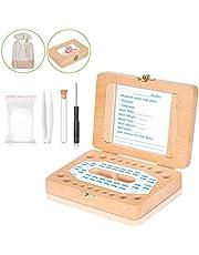 Caja de dientes para bebés – Uiter caja de madera rectangular para dientes hecha a mano, resistente y segura para niñas y niños (Bolsa de almacenamientos y otros accesorios totalmente gratis)