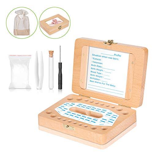 Baby-Zahn-Box – Uiter Handgemachtes Rechteckiges Milchzahn-Aufbewahrungs-Kästchen aus Holz für Kinder-Zähne Haltbarer Sicherer Organizer(Zubehör Gratis)
