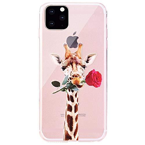 CrazyLemon Hülle für iPhone 12, Soft TPU Flex Silikon Transparent Ultra Dünn Schlank Bumper Handyhülle Premium Kratzfest TPU Schutzhülle - Giraffe Essen Rose