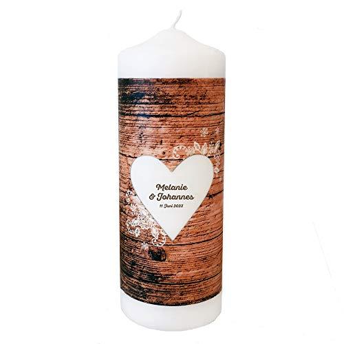 Weddix Vintage Hochzeitskerze mit Namen und Datum in Holzoptik mit Herz und Spitze - Traukerze 23 cm groß zur Hochzeit mit Spruch