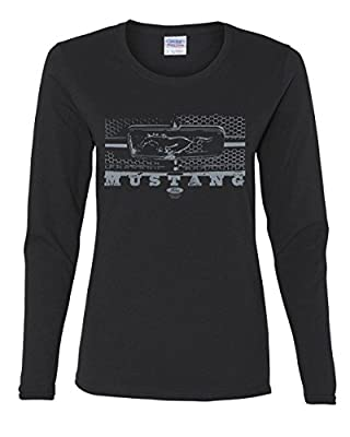 Ford Mustang Honeycomb Grille Women's Long Sleeve Tee Legendary American Muscle Black L
