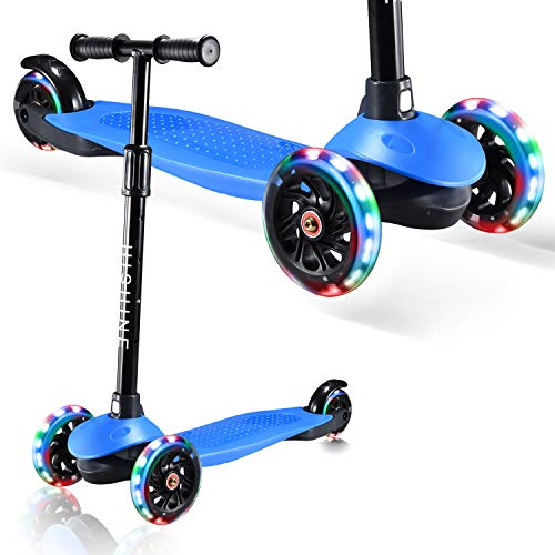 HISHINE 3 Wheel Scooter for Kids,Toddler Kick Scooter with Pu Led Flashing Wheels,Adjustable Lean-to-Steer Handlebar,for Children from 2 to 5 Year-Old (Blue)