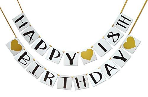 Happy 18th Birthday Banner - Gold Hearts and Ribbon - Birthday Decorations