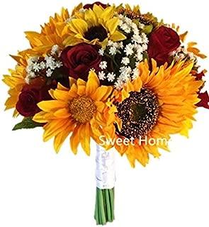 Sweet Home Deco Silk Sunflower Rose Babysbreath Wedding Bouquet Bridal Bouquet Bridesmaid Bouquet Boutonnere in Yellow/Red (Yellow/Red-11''W Bouquet)