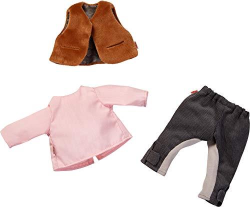 HABA 304582 - Kleiderset Reitertraum, Puppenzubehör für 32 cm große HABA-Puppen, Set aus Hose, Pullover, Weste und Reitkappe, Spielzeug ab 18 Monaten