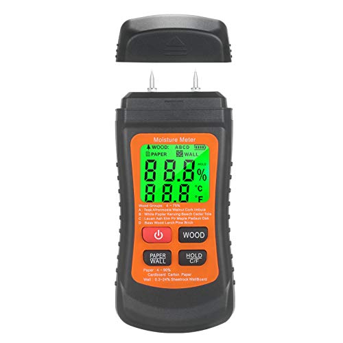 Medidor de humedad de madera Medidor de humedad digital LCD con retroiluminación verde Tipo de pin Detector de fugas de agua y humedad con madera, papel y pared 3 modos de retención de datos Medidor