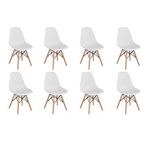 BenyLed 8er Set Modern Esszimmerstühle Wohnzimmerstuhl, Skandinavisch Armlose Stühle mit Solide Buchenholz Bein (Weiß)