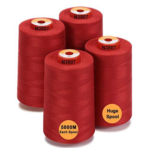 New brothread - 28 Opciones - 4 Bobinas Grandes de 5000M hilo de coser de poliéster todo propósito 40S/2 (Tex27) para coser, acolchar, patchwork, remalladora y overlock - Red