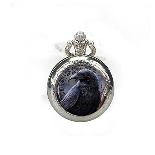 Colgante de reloj de bolsillo Raven, collar de reloj cuervo, reloj de cuervo, joyería de pájaro