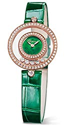 Rose Gold Floating Happy Diamonds Icons Green Dial Watch