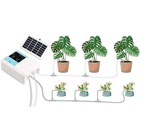 Sistema de riego automático, sistema de riego automático de doble bomba, kit de riego por goteo automático solar, sistema de riego automático con temporizador de agua electrónico para 20 plantas