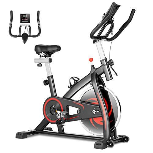 CAROMA Cyclette da Casa Interni Spinning Professionale Training Speed Bike Display LCD Manubrio Regolabile e Sedile Fitness Bike (senza APP, Nero)