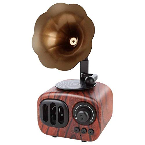 Retro Stijl Trompet Speaker Wireless Stereo subwoofer Music Box Houten luidsprekers met Mic Fm Radio Tf QPLNTCQ (Color : Dark Wood Grain, Size : Free)
