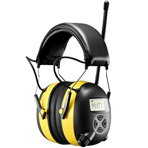 BJKing EP003 AM FM Radio Headphone with Digital Display, 30db Ear Protection Noise Reduction Safety Ear Muffs, Ultra Comfortable Hearing Protector for Lawn Mowing and Landscaping - Yellow