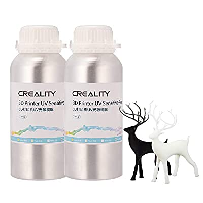 Creality 3D Printer Resin, Smellless LCD UV-Curing Resin 405nm Standard Photopolymer Resin for LCD 3D Printing 500ML Black and 500ML White
