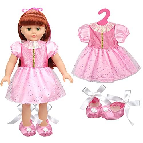 Tomicy Geburtstag Puppe Kleidung Zubehör Babygeschenke Dirndl Puppenkleidung -Geburtstags-Set mit Kleid und Schuhen für 43cm / 17 Zoll Neugeborene Babypuppe 2pc / Set