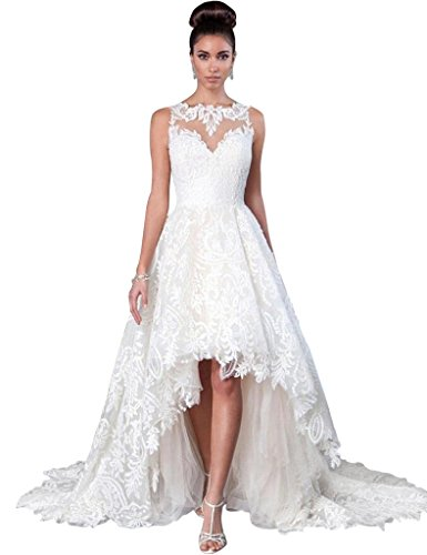 JoyVany Women Vintage 2019 Beach Summer Full Lace Applique High Low Wedding Dresses White Size 10
