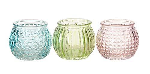 levandeo 3er Set Windlichter 6x5cm Grün Blau Rosa Pastell Glas Deko Frühling Teelichthalter Kerzenhalter Romantik Kerzenschein