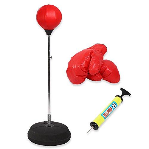 AYNEFY Punchingball,Boxing Ball Set Box Set Erwachsene rot Freistehend Boxen Punchingball Erwachsene Boxtraining Set mit Boxhandschuhen und Ständer Verstellbar Höhe 120-150 cm Rot