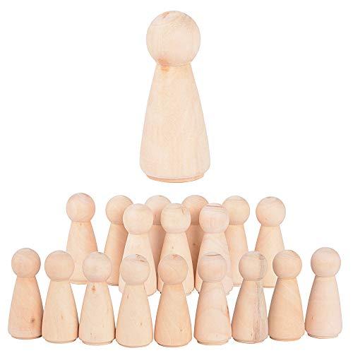 JNCH 20 STK Holzfiguren Mädchen Dekoration DIY Figuren Deko zum Basteln Holz Puppen Holzpuppen zum Bemalen Kegel Figurenkegel Holzkegel