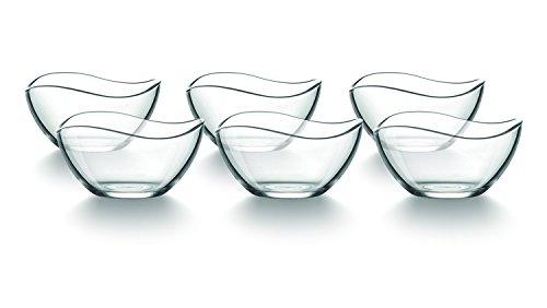 Tamirei-Design Dessertschale, kleine Müslischale aus Glas, Set mit 6 Schalen, Glasschüssel, Eisschale mit geschwungenem Rand, zum Servieren oder als Deko mit Teelicht