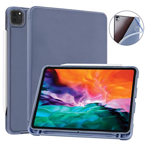 SIWENGDE Case for iPad Pro 11 Inch 2020 2nd Generation Support iPad 2nd Pencil Charging & Pair, Slim Lightweight Trifold Stand Smart Protective Case Cover for Kids, Auto Wake/Sleep (Lavender)