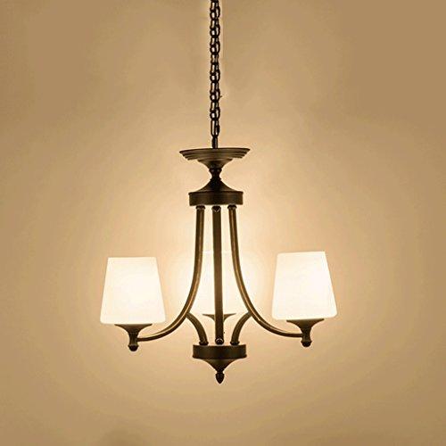MEGSYL Amerikaanse kroonluchter van rustiek ijzer, eenvoudige slaapkamerlamp met hanglamp, hoge lichtdoorlatendheid van glas, 3 koppen hanglamp, zwart E27, zonder lamp
