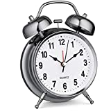 Bernhard Products Analog Alarm Clock Twin Bell Silver 4' Extra Loud Quartz Battery Operated with Backlight, Silent Non-Ticking for Bedside Desk, Vintage Retro Antique Decorative Old School