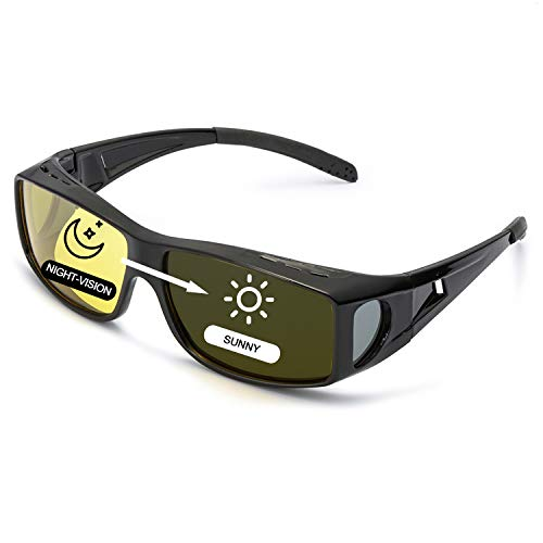 LVIOE Wrap Around Night-Vision Glasses, Fit Over Prescription Glasses with HD Polarized Yellow Lens Night-Driving Glasses