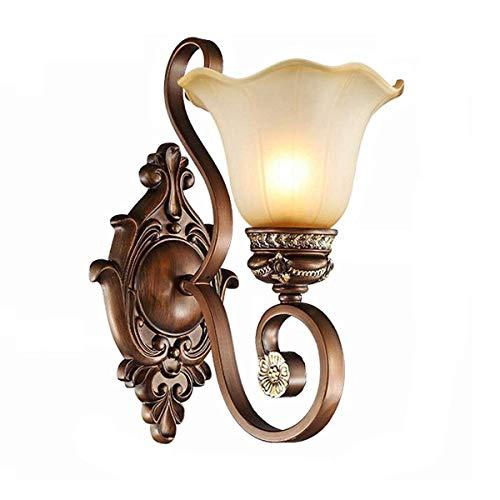 Antik Wandleuchte Innen Landhaus-Stil Retro Wandlampe mit Glas Lampenschirm Rustikale Flurlampe E27 Fassung Nachttischlampe für Korridor Schlafzimmer Terrasse Wohnzimmer Window Wandbeleuchtung