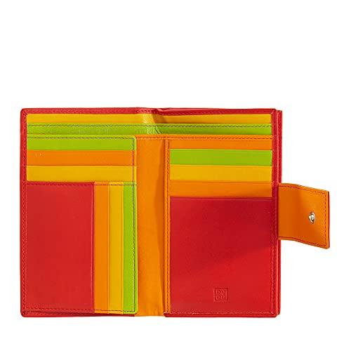 DUDU Cartera Mujer Grande espaciosa RFID de Piel Verdadera Multicompartimento con Monedero a Cremallera y Tarjetero Rojo
