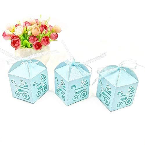 JZK 48 x Azul Cochecito de bebé Papel Perlado Cajas de Dulces a Favor con Cinta para Caramelos Regalo Bombones Recuerdos de bautizos Bodas Baby Shower comunión Santa