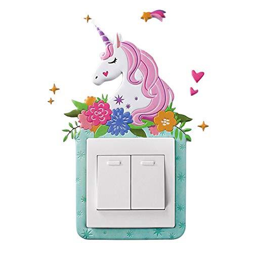 Etiqueta engomada del interruptor de luz de unicornio/pegatinas decorativas de pared para dormitorios infantiles, pegatinas fluorescentes autoadhesivas niño niña(Verde)