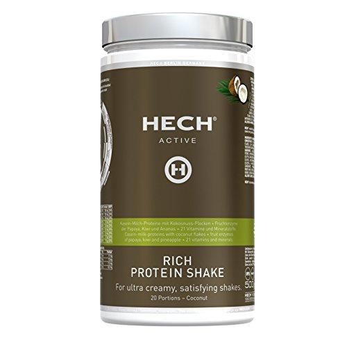 HECH ACTIVE Rich Protein Shake Cocos, Eiweißpulver für Muskelaufbau, mit Whey-Proteinen, Vitaminen & Mineralstoffen, extra cremige Konsistenz, 500 g