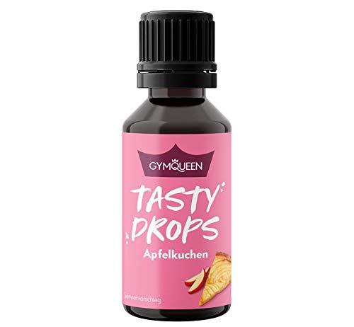 GymQueen Tasty Drops 30ml   Kalorienfreie, Zuckerfreie und Fettfreie Flavour Drops   Aroma Tropfen zum Süßen von Lebensmitteln   Geschmackstropfen ohne Künstliche Farbstoffe   Apfelkuchen