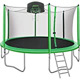 Merax 14FT 15FT Trampoline with Enclosure Kids Trampoline with Basketball Hoop, Ladder and Backboard Net (14FT-Green-Upgraded Version)