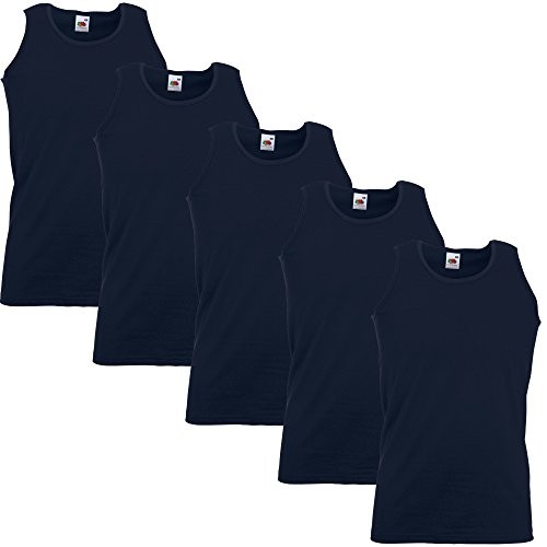Herren-Achselshirts der Marke Fruit of the Loom, Tanktop, T-Shirt, in allen Größen und Farben erhältlich, 5 Stück Gr. M / 96,52 cm-101,60 cm, 5 x Navy Blue