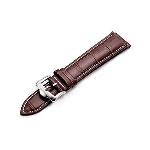 Z20 Leather Watchband Crocodile Pattern Strap 14mm 16mm 18mm 20mm 22mm 24mm Silver Metal Buckle Clasp Women Men Watch band-brown-white-14mm