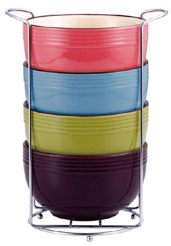 Wellgro Müslischalen-Set 5-tlg. - Keramik - 4 Schalen im Ständer - Müsli Schale - Müslischüssel - Dessertschale - Schale - Schüssel WG-4370