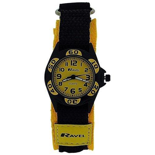RAVEL Analoge Jungen-Armbanduhr mit schwarz-gelbem Textilarmband und Klettverschluss R1507.25