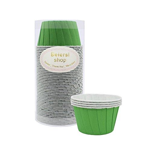 Beiersi 50Pcs Papier Kuchen Tasse Cupcake Fällen Liner Muffin Hohe Temperaturbeständige Backen Tassen (Grün)