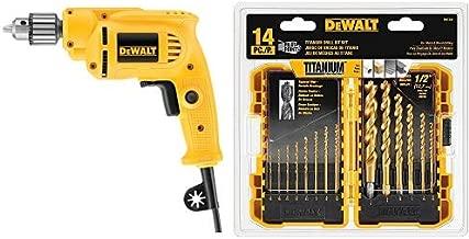 Dewalt DWE1014 3/8-Inch 0-2800 RPM VS Drill with Keyed Chuck with DEWALT DW1354 14-Piece Titanium Drill Bit Set