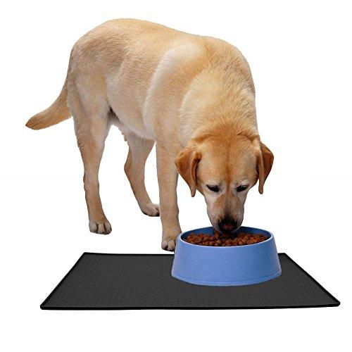 Tiernahrung Wasserdichten Silikon-Anti-Rutsch-Matte Schalen Matte Schalen Matte PET Hund Katze Futternapf Matte Schalen Matte mit einer Grenze eignet sich auch als Führungspolster (L, Schwarz) - 8
