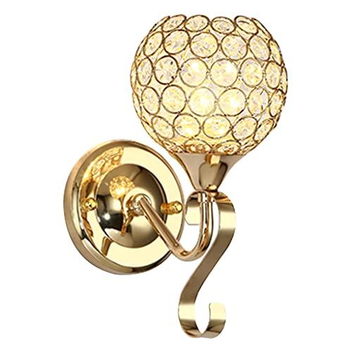 MagiDeal Moderne applique decorative in cristallo, applique da comodino illuminazione per decorazioni per la casa fai da te E26 / E27 Lampadina con - d'oro