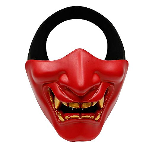 RETYLY Disfraz de Halloween Cosplay Caries Evil Demon Kabuki Samurai Half Cover Mask Party Scary Decoration, Rojo