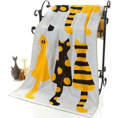 Toalla de baño para adultos con diseño de gato de dibujos animados, tamaño grande, albornoz para camping, deporte, playa, manta para niños (color: como foto, tamaño: 70 x 140 cm)