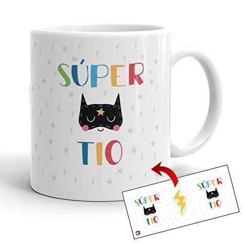 Kembilove Tazas de Familia – Originales Tazas de Desayuno para Toda la Familia – con Mensaje Eres un Súper Tío – Tazas de Café para Hombres y Mujeres – Regalos Originales para Familiares